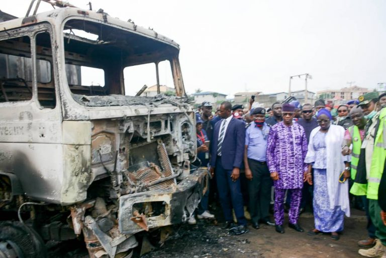 Governor Dapo Abiodun visits the scene of  fire accident at Tollgate area.