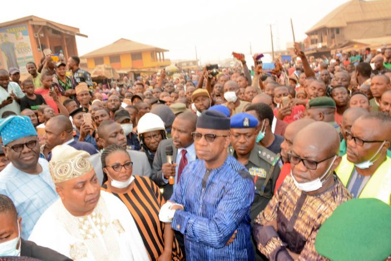 Governor Abiodun in the midst of market men and women at Sabo market, Sagamu, expressed shock at the level of damage caused by the inferno.....
